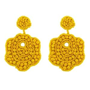 Yellow Flower Beaded Large Statement Drop Earrings